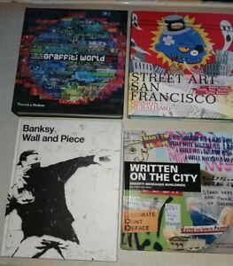 4 x STREET ART / GRAFFITI Hardback Book Collection BANKSY Wall & Piece Spraycan