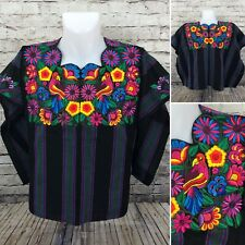 Guatemala Huipil Mayan Floral Birds Embroidered Black Yellow One Size A15-11