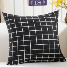 """18"""" Cushion Cover - Black with White Lines - Geometric Rectangle Pattern"""