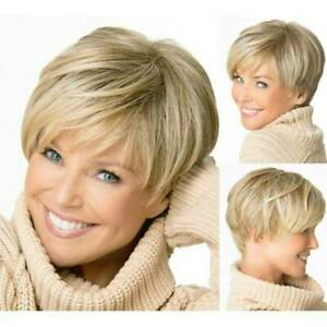 Women Boycut Hairstyles Short Straight Cropped Wig Pixie Golden Blonde Wigs