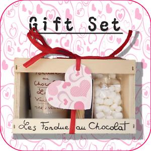 """Valentine's Day Heart"" Chocolate Fondue + Mini Marshmallow Gift Set - 7 Designs"