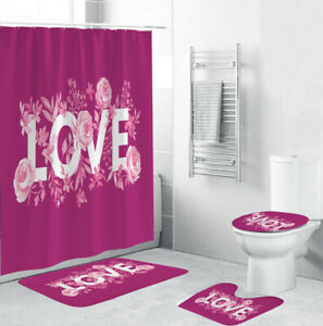 LOVE Shower Curtain Set Bathroom Rug Thick Non-Slip Bath Mat Toilet Lid Cover