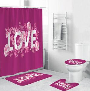 LOVE Shower Curtain Set Bathroom Rug Thick Non-Slip Bath Mat Toilet Lid Cover
