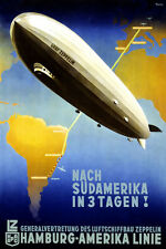 "Cool Retro Travel Poster *FRAMED* CANVAS ART Germany Zeppelin 16""x12"""