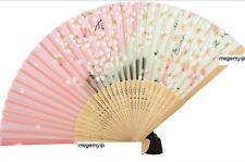 Chinese Japanese Folding Silk Hand Bamboo Pocket Fan Pink Rose White Flower