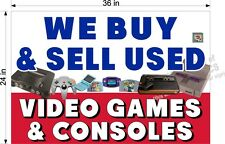 2' X 3'  PAPER BANNER WE BUY & SELL USED VIDEO GAMES HORIZONTAL  NEW!!