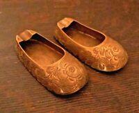 Old Vintage Brass Shoes Ashtrays - Marked India - Unused - Nice!