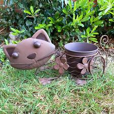 Metal Wobbly Cats Head Decorative Garden Sculpture Statue Ornament Plant Pot New