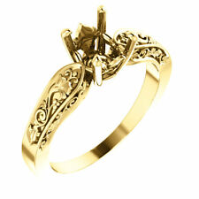 10k Yellow Gold Solitaire Setting Semi Mount Round Floral Vintage Wedding Ring
