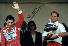 RON DENNIS SIGNED 12x8 Photo Formula 1 with Ayrton SENNA AFTAL COA F1