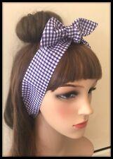 Purple Gingham Check Headband Bandana Headscarf Hairband Tie Band School Uniform