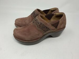 ARIAT Brown Nubuck Leather Clogs. Cutout Studded. Woman's Size 6.5 EUC