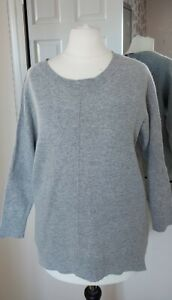 *JIGSAW SIZE S MARL GREY LAMBSWOOL/CASHMERE BUTTON UP BACK JUMPER*L@@K*