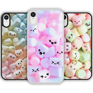 Cute Kawaii Marshmallow Faces Pattern Phone Case Cover For iPhone Samsung Galaxy