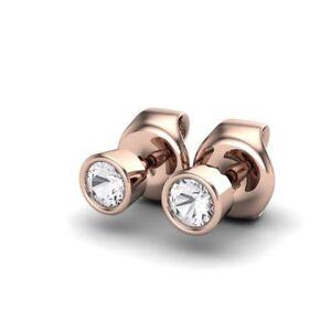0.20Ct Round Brilliant Cut Bezel Set Diamond Stud Earring in 9K Rose Gold Finish