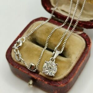 9ct White Gold 0.25ct Diamond Cluster Pendant + Micro Curb Link Chain Necklace