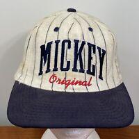 Mickey Mouse Vintage Baseball Hat Snapback Cap Pinstripe Adult Disney 90s USA