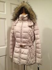 Jones New York Jacket Coat Puffer Down Heavy Zip Hood Faux Fur Alabaster L NWT