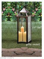"Large 24"" tall Malta BRONZE BROWN Candle Lantern holder light outdoor terrace"