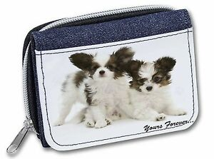 Papillon Dogs 'Yours Forever' Girls/Ladies Denim Purse Wallet Christm, AD-PA66JW