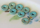 Spacer Beads, Brass Patina Wheel Medallion Disc Circle Spacers Blue 6mm 1425J