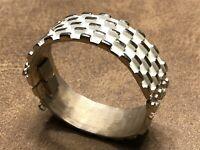 Vintage Signed Napier Gold & White Chunky Designer Cuff Bracelet