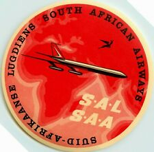 SAL ~SOUTH AFRICAN AIRWAYS~ Beautiful Old Airline Luggage Label, c. 1955  MINT