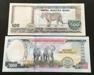 Nepal 2016-20 Rs 500,1000 Everest Banknote w/ 1 Tiger & 2 Elephants sign 20 UNC