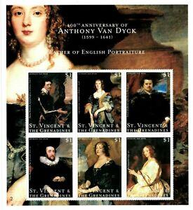 St. Vincent 2000 - SC# 2766 Van Dyck Portrait Paintings, Art - Sheet of 6 - MNH