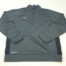 Nike Therma-Fit Track Jacket Mens 2XL XXL Gray Black 1/2 Zip Insulated Running