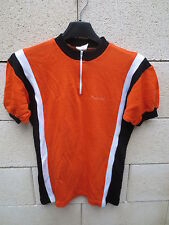 VINTAGE Maillot cycliste JACQUES ANQUETIL orange cycling shirt jersey 70's 168 2