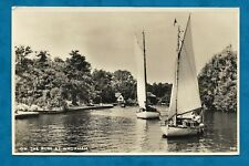 """C1950s RP PC NORFOLK BROADS """"ON THE BURE AT WROXHAM"""" SAILING BOATS"""