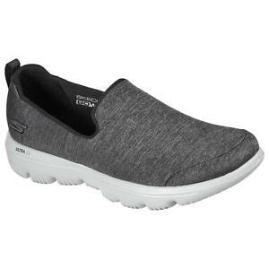 Skechers Women's GO Walk Evolution Ultra Wild Card Sneaker, Black/Grey, 8.5