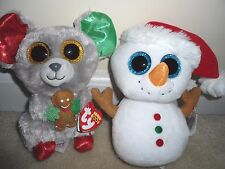 Ty,Mac & Scoop Boos; 2016 Sparkly Eyed XMAS Releases,Mouse/Snowman Set.NEW/TP'd!