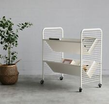 Steel Bookshelf Trolley (White), Movable Bookcase, 5 Days Express Shipping