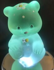 FENTON Glass Sitting Bear- Satin Light Green with Dots and Purple Flowers -(H1)