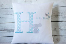 "Personalised Baby Boy Initial - 16"" white cushion cover Shabby Chic Nursery"