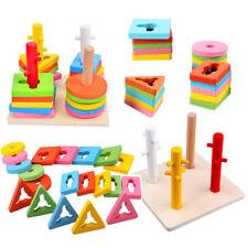 Kids Wooden Shape Sorter Puzzle - Educational Geometric Blocks Stacking Toy