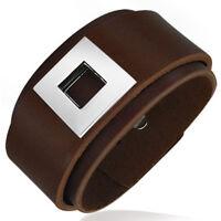 Bracelet homme en cuir ZENSE ZB0034 marron avec motif acier
