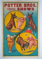 Original Circus Poster Potter Bros. Combined Shows -Clown and Donkey, Erie Litho