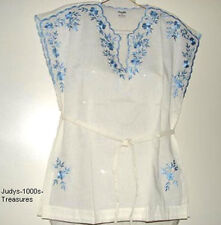 WHITE CAP SLEEVE BLOUSE BLUE EMBROIDERY MEDIUM MADE IN THE PHILIPPINES
