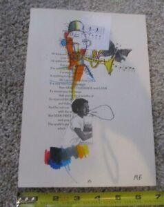 "MICHAEL BANKS MODERN FOLK ART Drawing ABSTRACT Pop 6.5 x 10"""