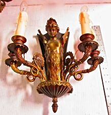 Vintage  PAIR OF ART NOUVEAU WALL SCONCES- Female Figure, Multiple Lights
