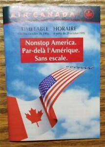 AIR CANADA Mini Airline Timetable America 10/29/95 D1354