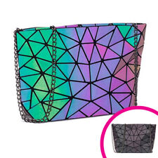 HAWWWY Luminous Geometric Handbag Holographic Reflective Bag Fashion Purse