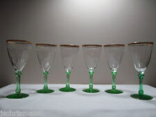 Green Stem Glasses Gold Encrusted Etched Paneled Optic Set of Six