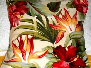 Hawaiian Cotton Barkcloth Fabric Pillow SLIPCOVER ~Pua~