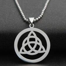 STAINLESS STEEL CELTIC KNOT NECKLACE 316L Metal Pendant 70cm Ball Chain Triangle