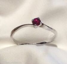 Solitaire Ruby Not Enhanced White Gold Fine Rings