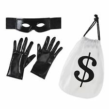 Mens Womens Robber Thief Bank Heist Burglar Fancy Dress Costume Accessory Set